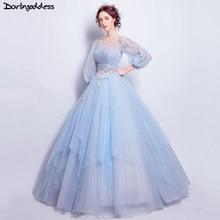 2d7fcbd073cd Luce Blu Elegante Abito di Sfera Abiti Da Sposa Manica Lunga Vintage  Incinte Fotografia Abito Da