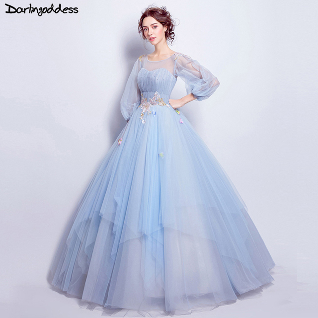 Vintage Dresses Blue Wedding: Light Blue Elegant Ball Gown Wedding Dresses Long Sleeve