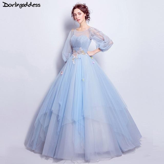 Light Blue Elegante Ballkleid Brautkleider Langarm Vintage ...