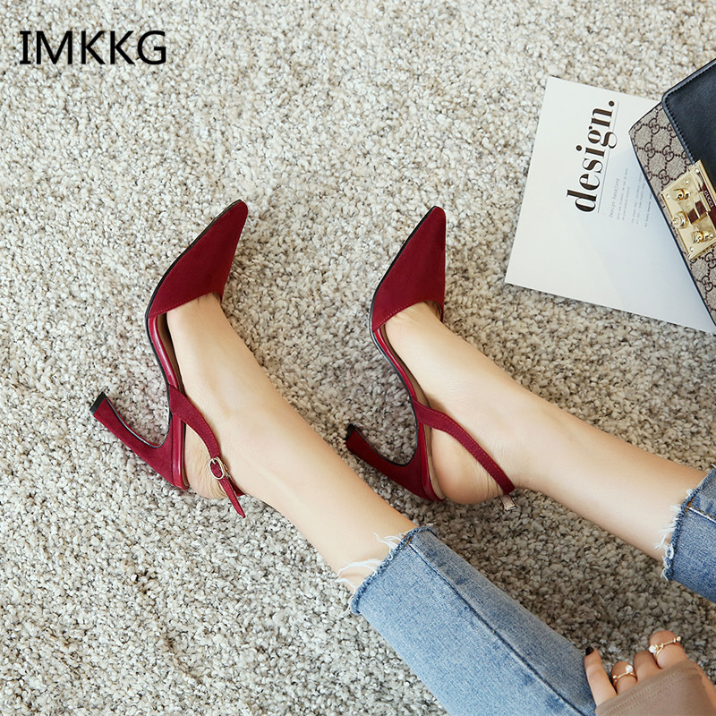 Sweet Suede Slingback Pumps Women Pointed Toe Mid Kitten Heels Summer Shoes Lady Buckle Strap Party Pumps Large Size A627