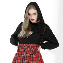 цена на Punk Women Black Long Sleeve Hooded With Hat Letter Printed Drawstring Crop Top Sweatshirt Hoodies
