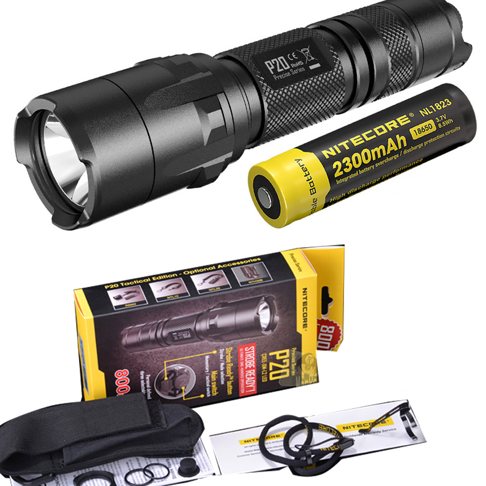 NITECORE P20 Flashlight CREE XM-L2 (U2) LED max. 800LM beam Dual-switch tail LED torch for outdoor sports with 2300mAh battery nitecore p20 flashlight cree xm l2 u2 led max 800lm led torch for outdoor sports 3500mah 18650 battery and um10 charger