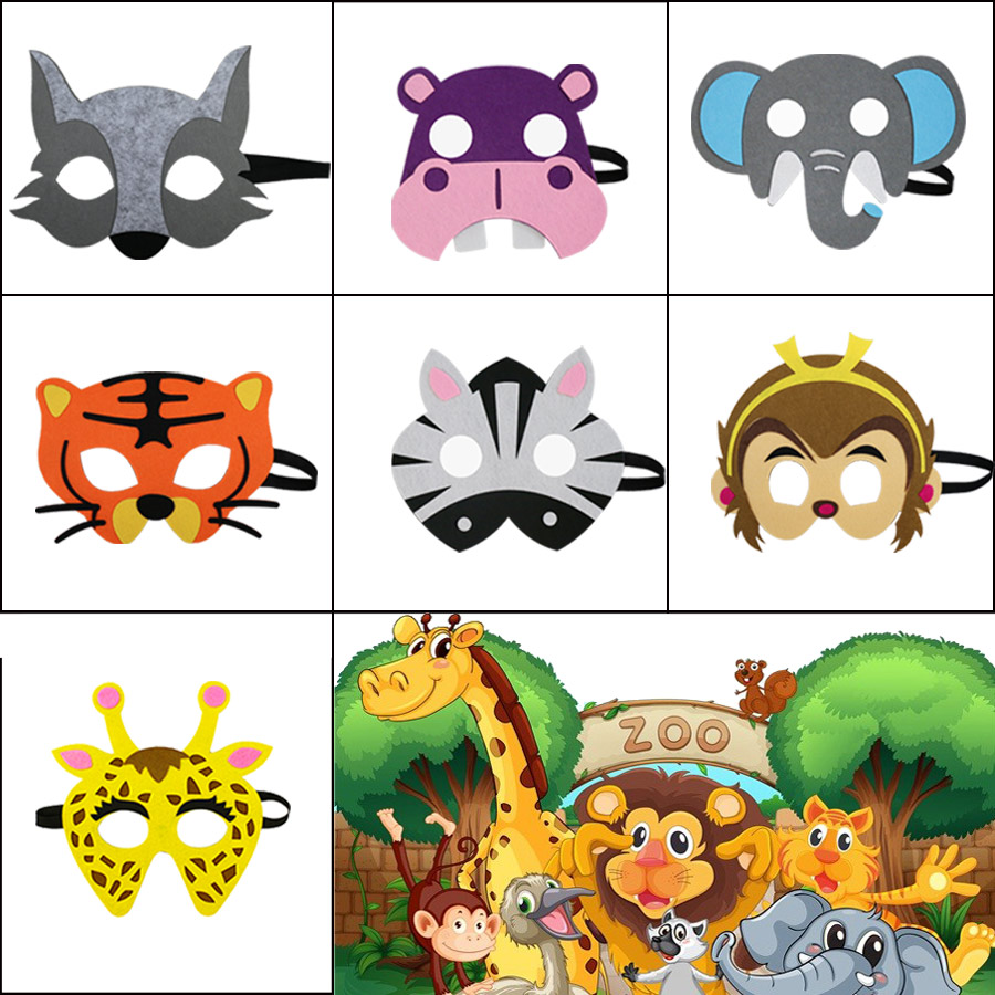 7 Packs SPECIAL Wild Costumes Animal Masks For Kids Party Birthday Toddler Toy Gifts Niece Toys Elephant Mask Zebra Costume