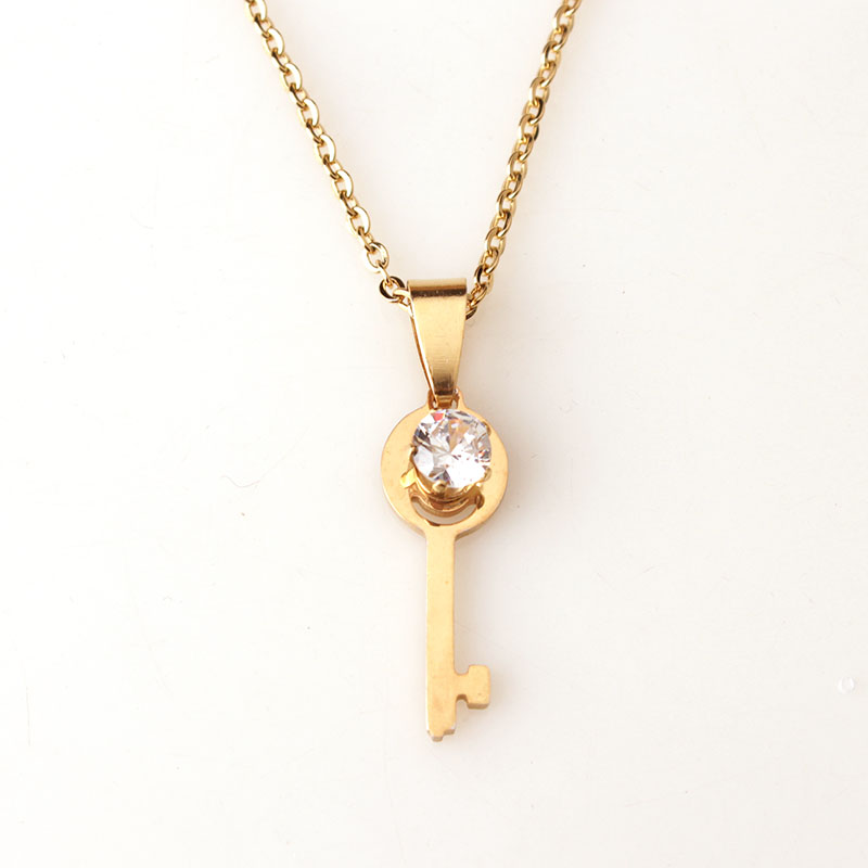 New design product stainless steel gold key necklace with cz key new design product stainless steel gold key necklace with cz key pendant necklace jewelry classic women necklace in pendant necklaces from jewelry mozeypictures Images