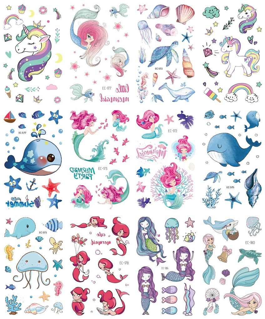 12 yaprak çiçek Mermaid Unicorn yunus geçici dövme etiket çocuk çocuklar için sahte Joker dövme çocuklar dövme etiket dövme