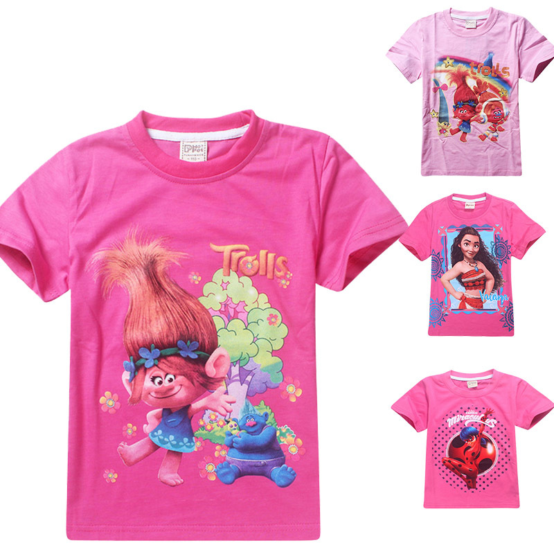 New Moana Tshirt Children Tees T-Shirts Girls Trolls poppy Clothes Baby Girl Clothes Summer t shirt For Girls Tops Kids lady bug 2017 summer girls sets clothes short sleeve chiffon baby girls sets for kids big girls t shirts and stripe shorts children suits