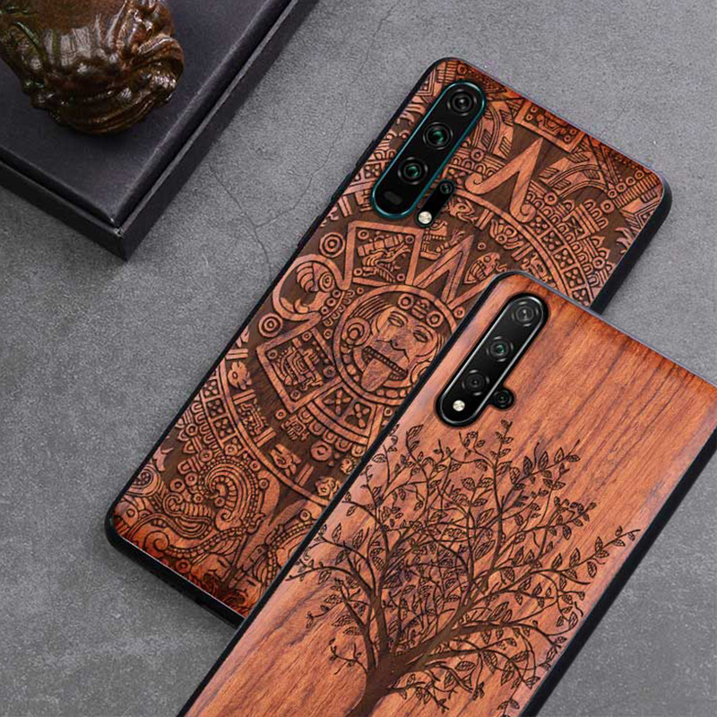 Honor 20 Case Boogic Original Real Wood funda Huawei Honor 20 Pro Rosewood TPU Shockproof Back Cover Phone Shell Honor20 case image