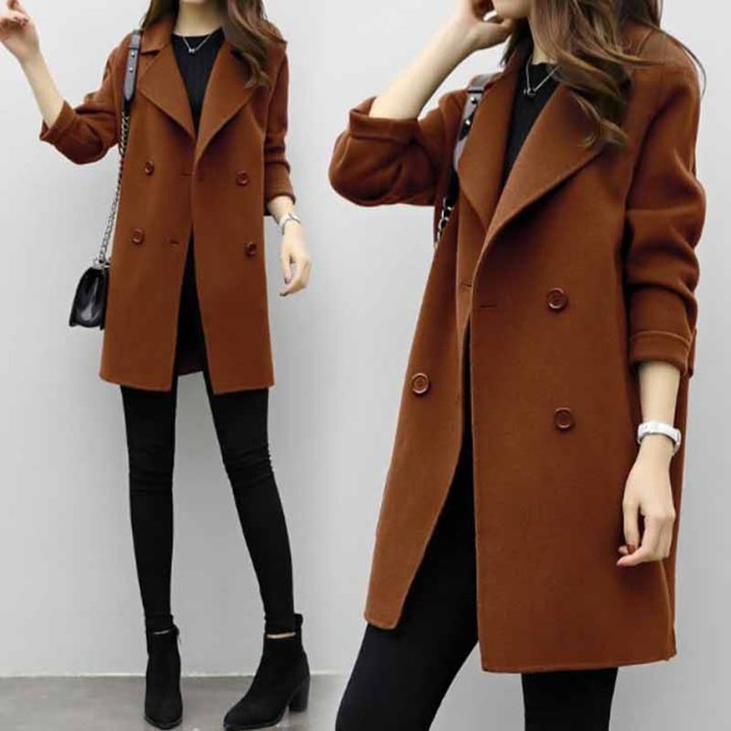 Women Lapel Long Sleeve Woolen   Trench   Coat Autumn Down Collar Elegant Turn Slim Double Breasted Female Overcoat   Trench   Coats