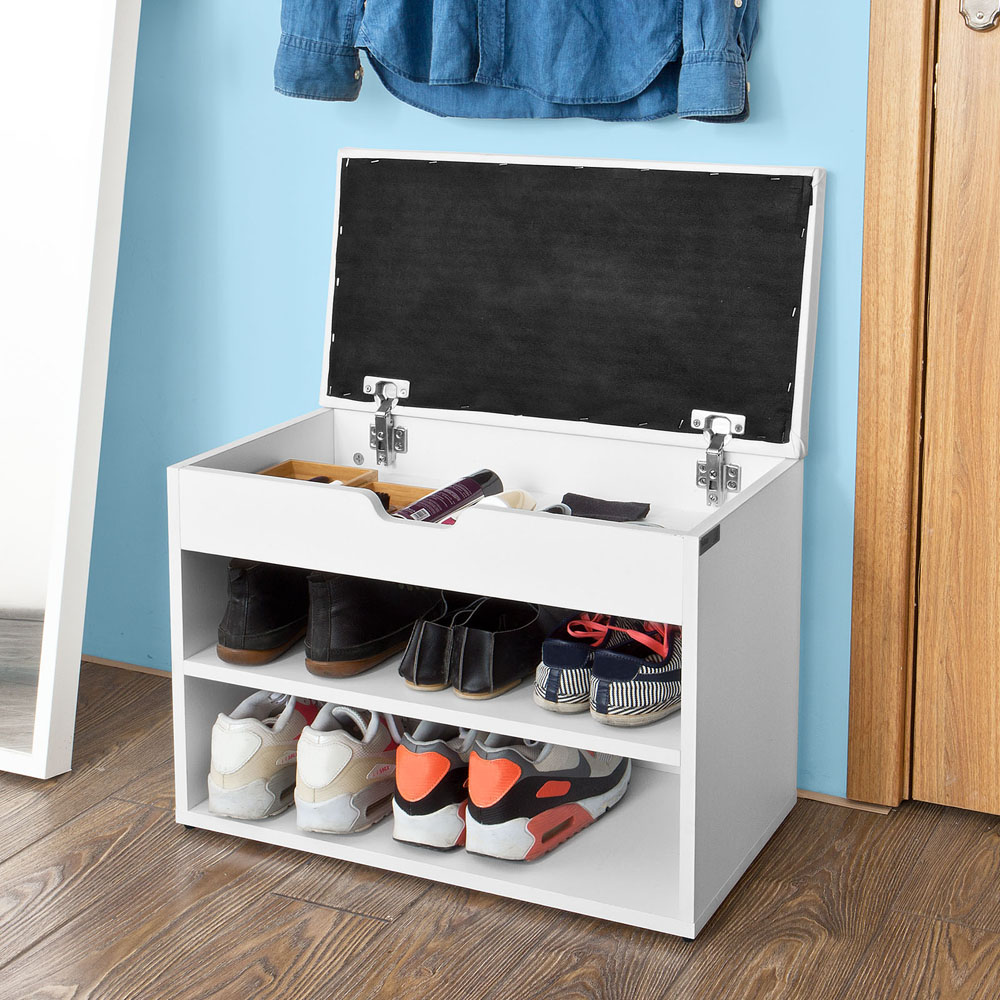 SoBuy FSR25 W Wooden Shoe Cabinet 2 Tiers Shoe Rack Shoe Storage Bench with Folding Padded Seat in Shoe Cabinets from Furniture