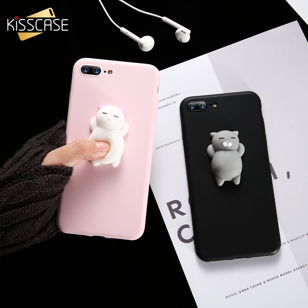 KISSCASE Cat Case For iPhone 7 6 6S Plus 5 5S SE Cases Lovely Cartoon Soft Cat Cases For iPhone 8 7 Plus 6 6s Knead Cover Coque titanium ring