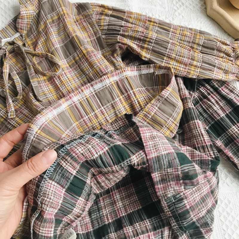 WLG/Коллекция 2019 года, весенние модные блузки в клетку для девочек Детская универсальная хлопковая рубашка для девочек Рубашка с длинными рукавами и воротником для малышей от 2 до 6 лет