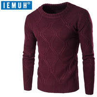 IEMUH 2017 Autumn Winter Thick Sweaters Hedging Fashion Collar Color Round Neck Sweater Casual Standard Of