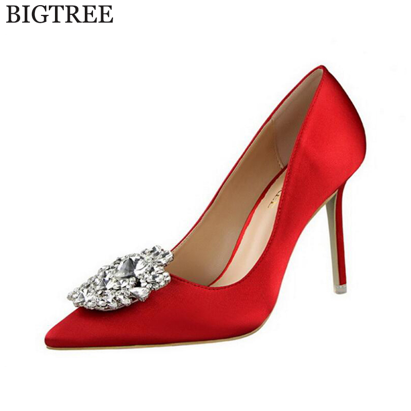 BIGTREE New Summer Sexy Women Pumps Elegant Buckle Rhinestone Silk Satin High Heels Shoes Heeled  Thin Pointed Single Shoes k89 koovan women pumps 2017 pointed high heeled shoes pink pearls wild night clubs single buckle women s sandals ladies summer