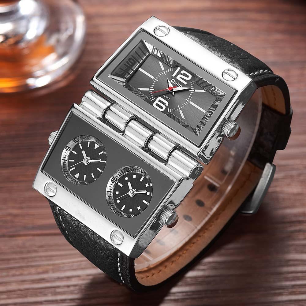 6b485157650 Oulm Homens Relógio Dos Esportes Da Forma do Relógio Militar Relógios  Únicos Dois Diferentes Retângulo Grandes