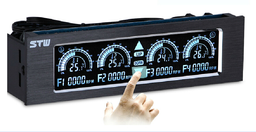 Fan speed controller 4 set, Touch screen, Aluminum alloy, Optical Drive Bay, speed temperature LCD display, 30W, STW-5043