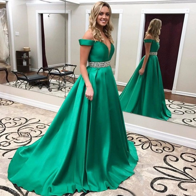Emerald Green Prom Dresses Long 2019 Satin Off Shoulder Evening Party  Dresses Royal Blue Vestidos De Baile With Belt Abiye 684f4feac