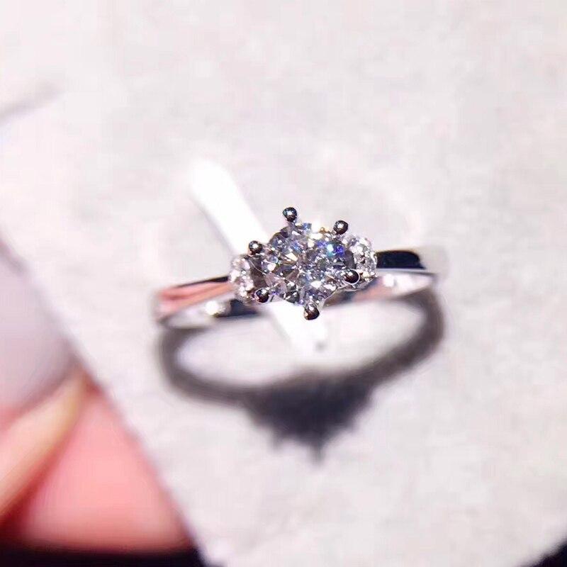 ANI 18K White Gold AU750 Women Wedding font b Ring b font Certified F VS 0