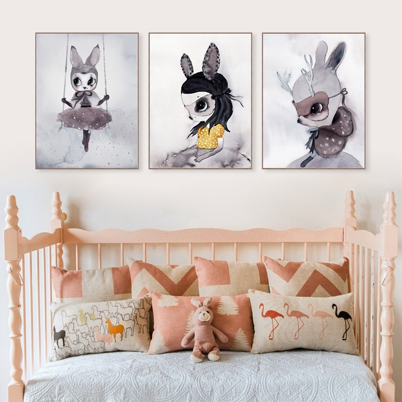 Poster And Prints Nordic Decoration Nursery Wall Art Canvas Painting Baby Room Beautiful Rabbit Print Pictures In Calligraphy From