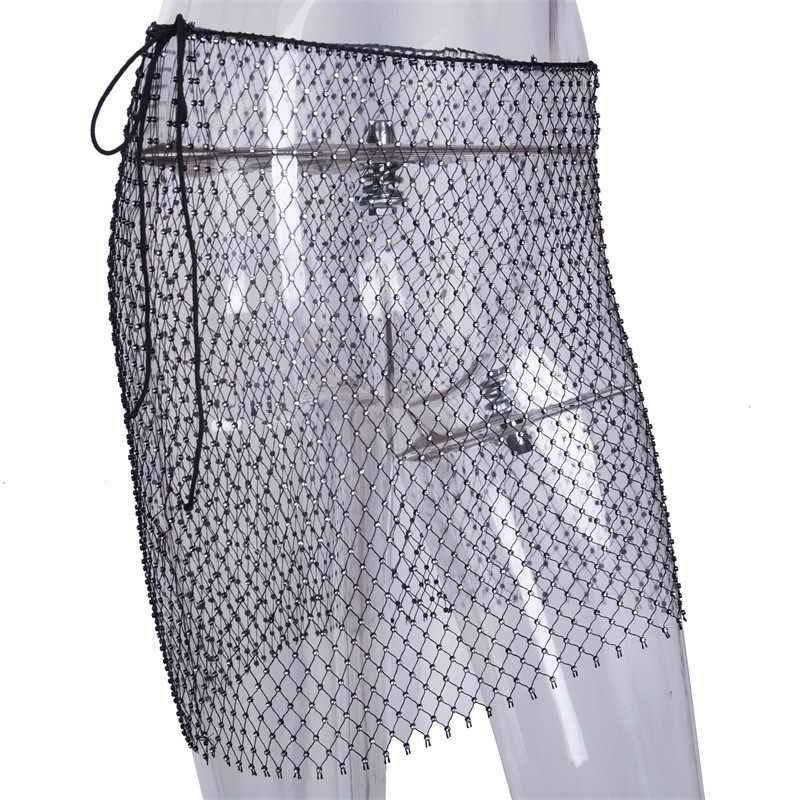 ... Beyprern Sexy Crystal Diamonds Mini Skirt Women Glitter Hollow Out  Sequins Beach Skirt Luxury Party Night ... 4da9a50f19cf