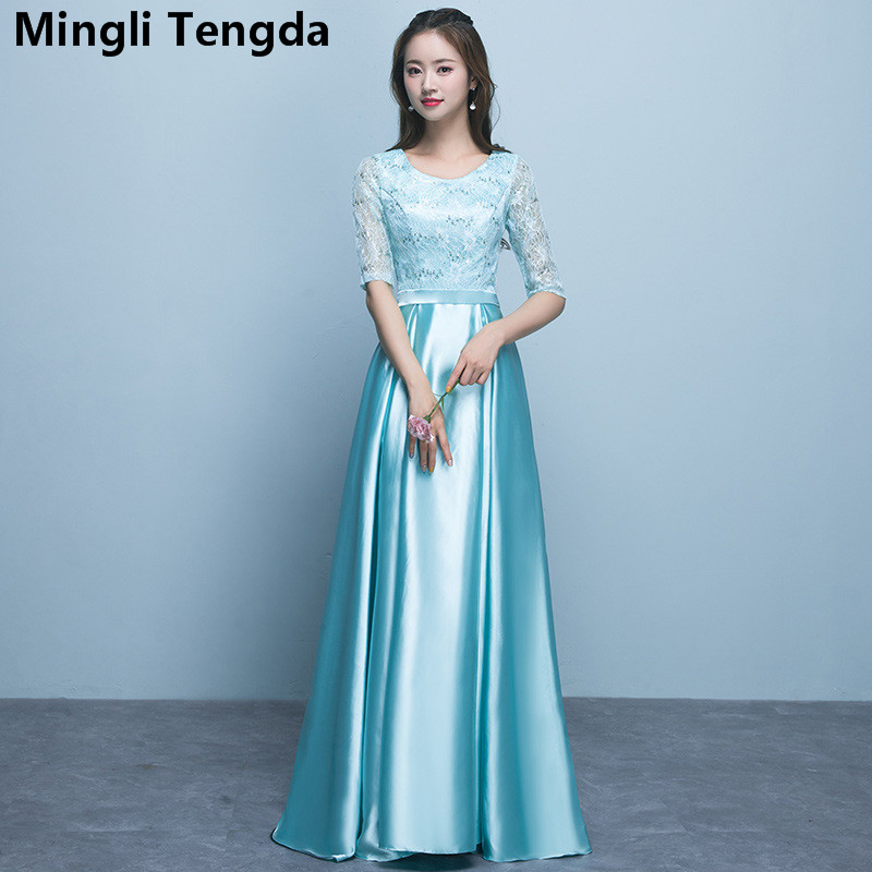 Long   Bridesmaid     Dresses   Elegant Wedding Party   Dress   Lace Floor-Length   Bridesmaid     Dresses   robe demoiselle d'honneur Mingli Tengda