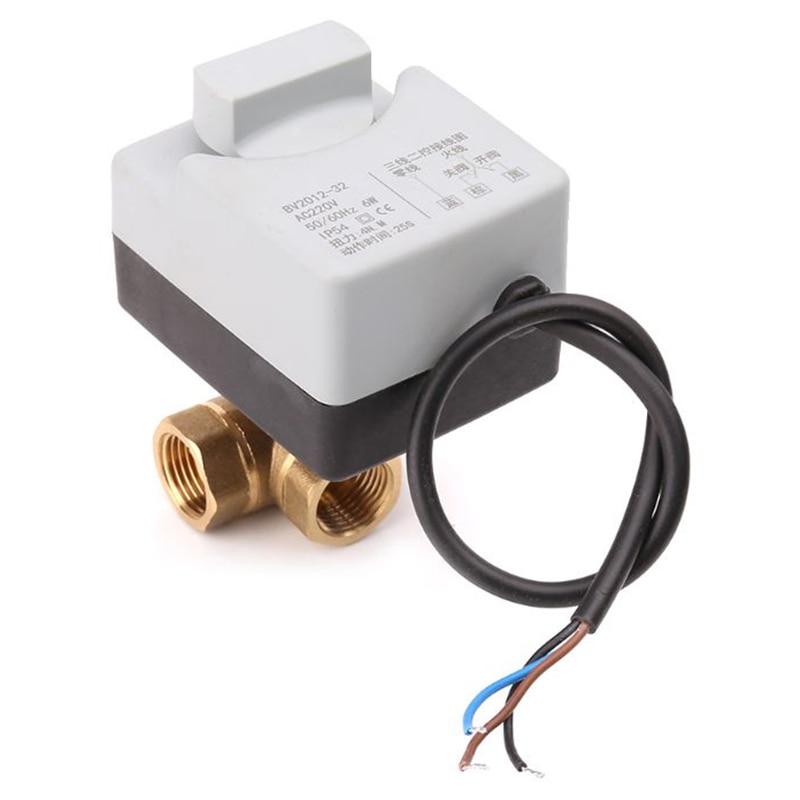 Ac220V vanne à boisseau sphérique motorisée électrique 3 voies trois fils deux commandes pour climatisation actionneur électrique vanne à boisseau sphérique