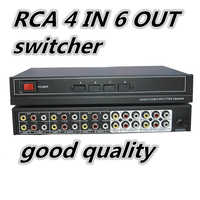 4 puertos 6 salida de 3 Audio Video RCA AV Switch conmutador caja Selector 4 en 6 4x6 4in 6out para HDTV LCD DVD VSW4P6