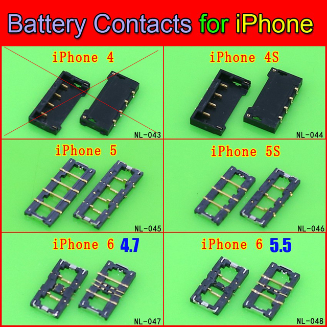US $0 89 20% OFF|5models 5pcs BATTERY CLIP CONNECTOR, TERMINAL BOARD FPC  Plug Contact repair parts for iPHONE 4S 5G 5S 6G 6PLUS-in Connectors from
