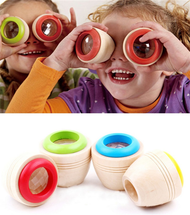 Wooden Educational Magic Kaleidoscope Baby Kid Children Learning Puzzle Toy #10