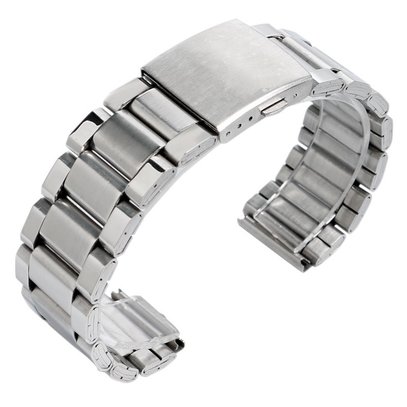 цена на 20/22mm Silver Stainless Steel Fold Over Clasp Replacement Solid Link Bracelet Men Wrist Watch Band Strap + 2 Spring Bars