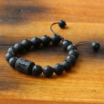 Sześć prawdziwych słów matowy czarny onyks smok rzeźbiony charms bransoletka modlitewna Mantra ochronna biżuteria dla mężczyzn Natrual kamień Dropshipping