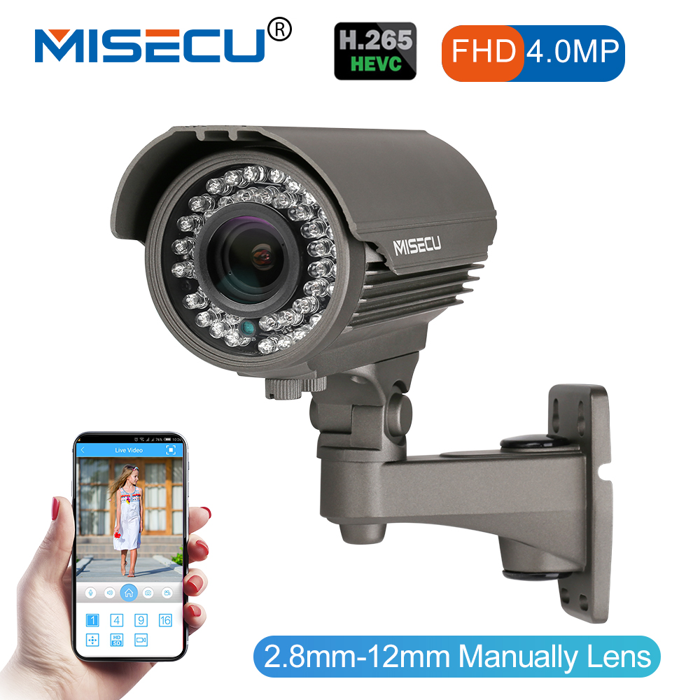 MISECU 4.0MP H.265/H.264 48 v POE 2.8-12mm Hi3516D OV4689 IP Caméra WDR RS485 protocole ONVIF 2592*1520 ip Métal Caméra de Nuit
