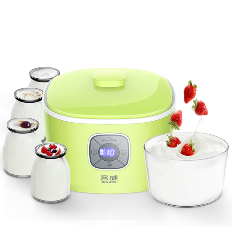 Natto Yogurt Makers Household Fully Automatic Yogurt Machine with Glass Liner Timing Rice Wine Machine 4 Sub-cup Green purple yogurt makers rice wine natto machine household fully automatic yogurt glass sub cup liner multifunctional kitchen helper