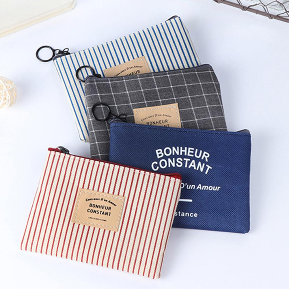 Grid Stripe Mini Canvas Coin Purse Women Wallet Cosmetic Storage Bag kids wallet monedero mujer para monedas coin wallet