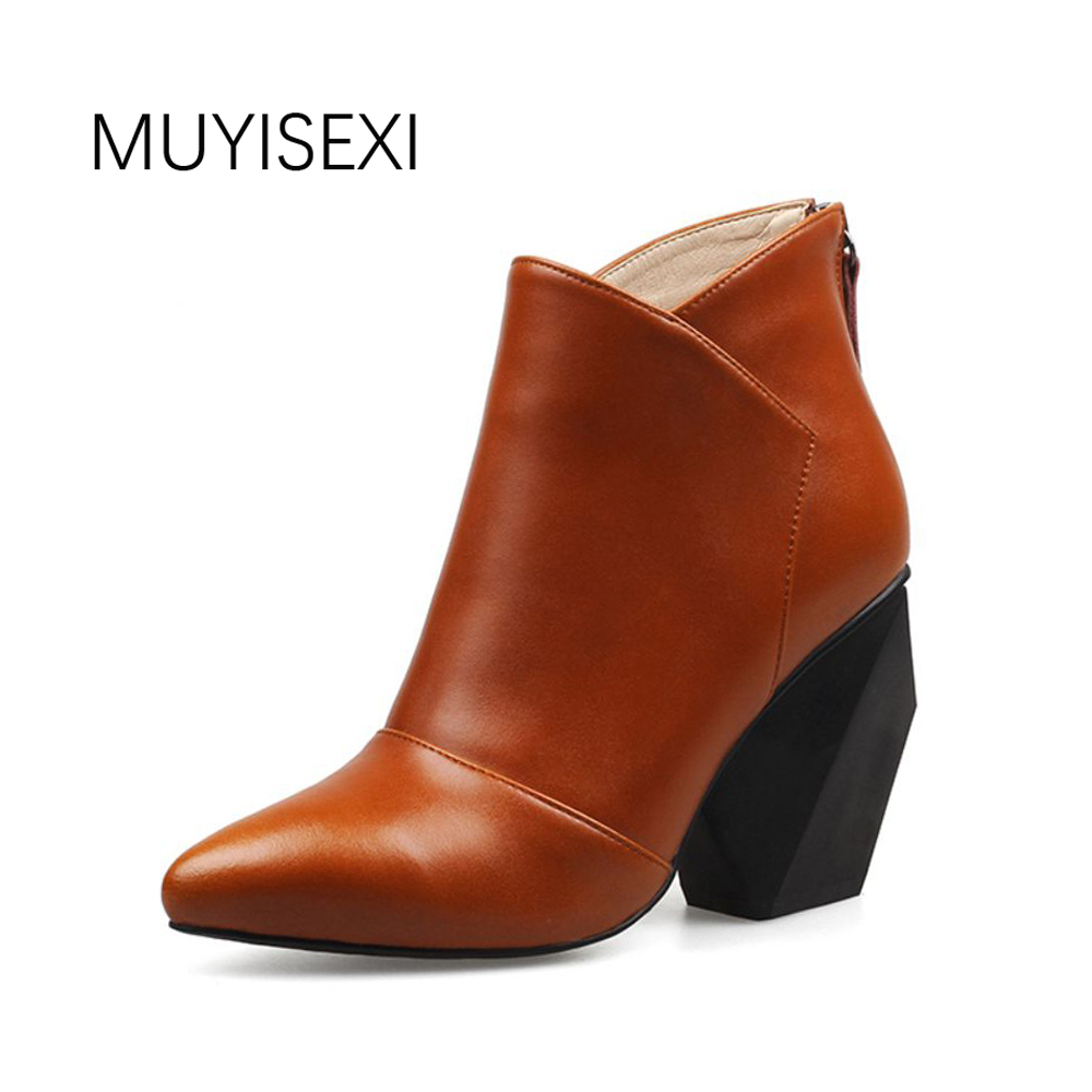 Women Boots Genuine Leather Ankle Boots Pointed Toe Strange High Heel Zip Autumn Boots For Women Brown Black HL23 MUYISEXI muyisexi 100% full genuine leather round toe flat thick heel women boots front with zip mid calf black boots 34 40 am02