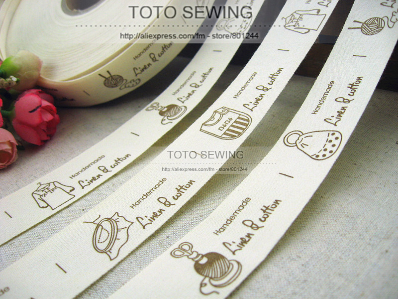 Min.order is $15 (mix order),2.5CM width, cute clothes and bags,Zakka cotton sewing label,TOTO sewing,FREESHIPPING,F001#-21