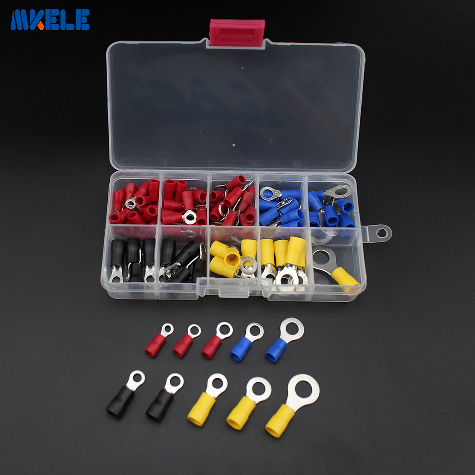 Free shipping 102pcs ring terminal Copper Crimp Connector Insulated Cord ring End Terminal set Wire terminals connector copper cable wire ring terminal connector gold 5mm 100 piece pack