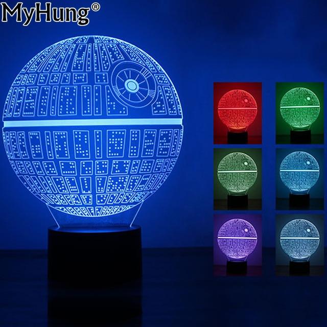 die kraft weckt bunten todesstern tischlampe 3d bulbing licht touch schalter geschenke lampe fr star - Star Wars Todesstern Lampe