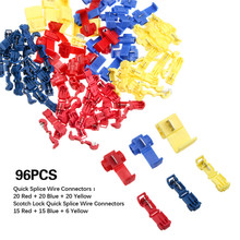 96Pcs Insulated Quick Splice Wire Connector Crimp Terminals 22-10 AWG Kit Assorted Cable Connectors Terminal 40pcs blue t tap insulated quick splice wire terminal spade crimp connector combo set 2 5 4 0mm2 awg 16 14