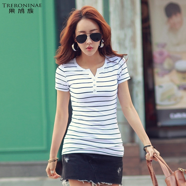 TRERONINAE Women 2017 summer female t-shirt cotton tee shirts v-neck top sexy casual plus size short sleeve striped Undershirt