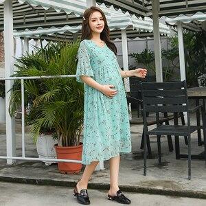 Image 4 - Robe longue de maternité en mousseline de soie, imprimé Floral, 8216 #, vêtements de grossesse élégants pour lété, 2019