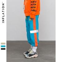 INFLATION 2019 summer new fashion mens sportswear pants reflect light tape jogger pants streetwear hip hop trousers 8878W