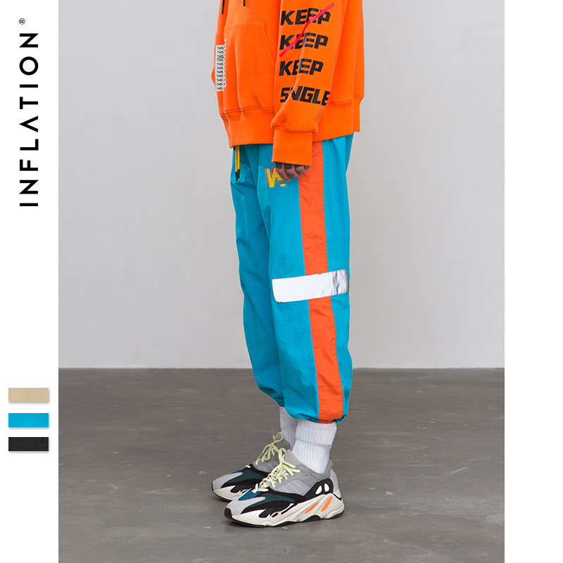 INFLATION 2019 Summer New Fashion Mens Sportswear Pants Reflect Light Tape Jogger Pants Streetwear Hip Hop Trousers 8878W