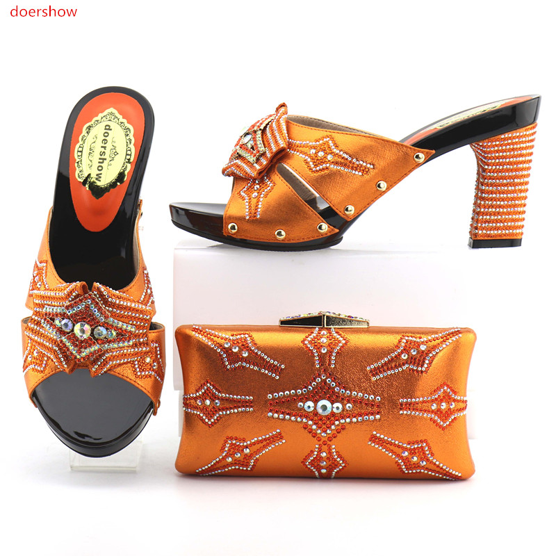 doershow New Fashion African Shoes and Bag Set Italian Shoes with Matching Bags High Quality Women Shoe and Bag To Match OP1-2 wholesale italian ladies matching shoes and bags set in yellow high quality fashion african women shoes matching bag set mm1026