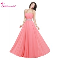 Alexzendra Simple Chiffon Pink Strapless Bridesmaid Dress For Wedding Beaded Belt Prom Dress Party Gown Bridesmaids