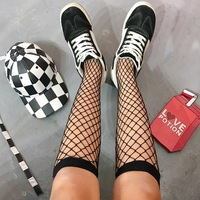 Summer Women Sexy Grid Socks Short Fishnet Socks H ...