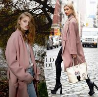 Pink Double Sided European American High End Elegant Fashion Womens Stripe Wool Fabrics For Clothes Overcoat