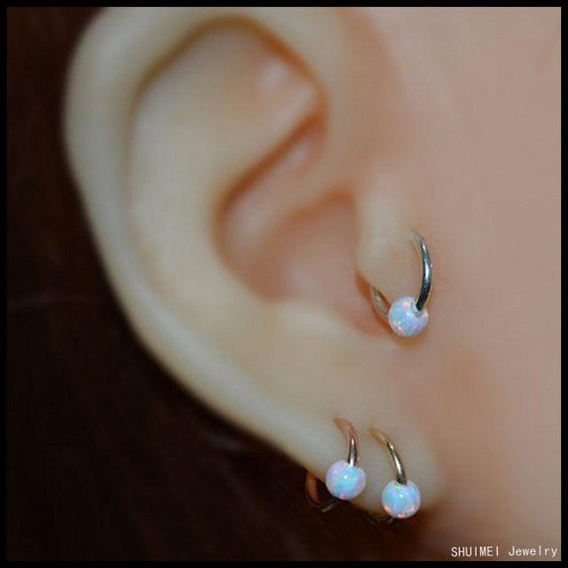 online shop new 1pc opal seamless open nose hoop earring ear