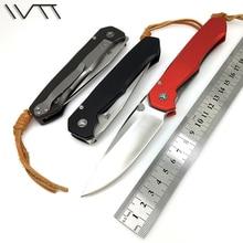 Wtt lochsa d2 cuchillo plegable táctico del cuchillo de bolsillo cuchillos de mango de aluminio + titanium acampar al aire libre del combate de supervivencia de caza herramientas edc