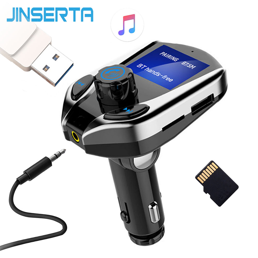 JINSERTA TF USB Flash Audio Car MP3 Player AUX Wireless Bluetooth FM Transmitter Car FM Modulator Handsfree 2.1A USB Charger