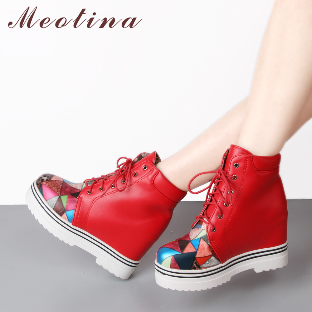 Meotian Winter Platform Wedge Ankle Boots Women Lace Up Boots Mixed Colors Short Boots Ladies Autumn Shoes Red Black Size 42 43 onemix 2017 new men running shoes breathable boy sport sneakers unisex athletic shoes increasing height women shoes size 36 45